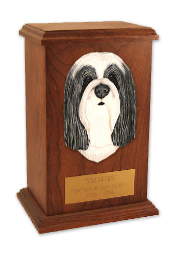 Bearded collie Dog Light Oak Memorial Cremation Urn Blue and White