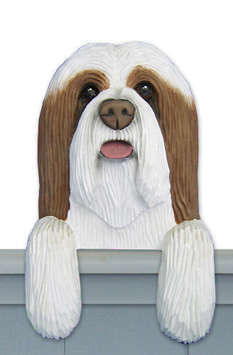 Bearded Collie Dog Door Topper Blue and White