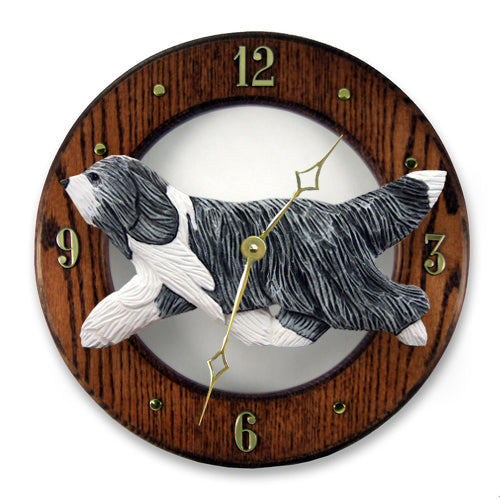 Bearded collie Dog Light Oak Hand Crafted Wall Clock Blue and White