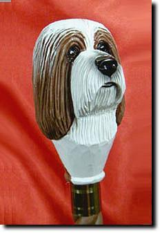 Bearded Collie Dog Hand painted Walking Hiking Stick
