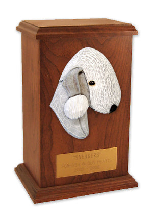Bedlington terrier Dog Light Oak Memorial Cremation Urn Blue