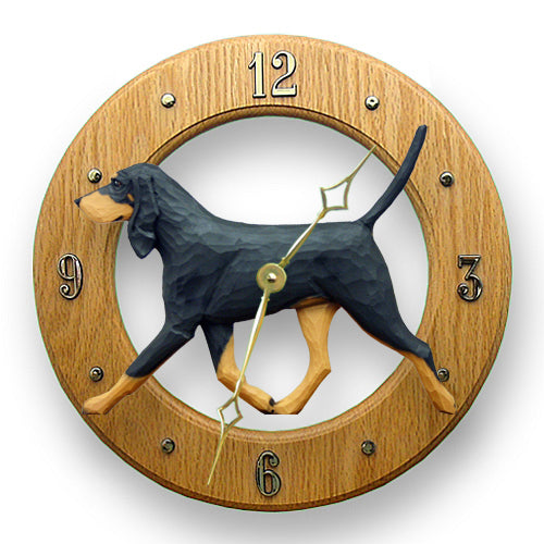 Coonhound black and tan Dog Light Oak Hand Crafted Wall Clock