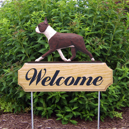 Boston Terrier Dog in Gait Yard Welcome Stake Black