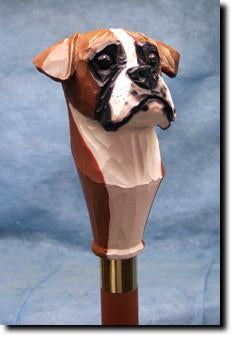 Boxer Natural Dog Hand painted Hiking Staff