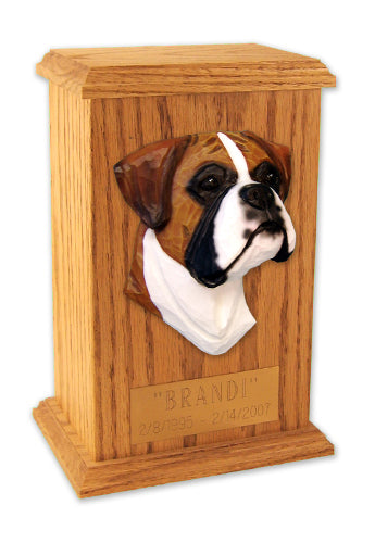 Boxer Natural Dog Light Oak Memorial Cremation Urn Fawn