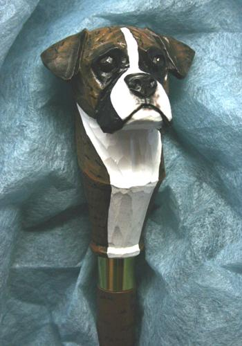 Boxer Natural Dog Hand painted Walking Cane Stick