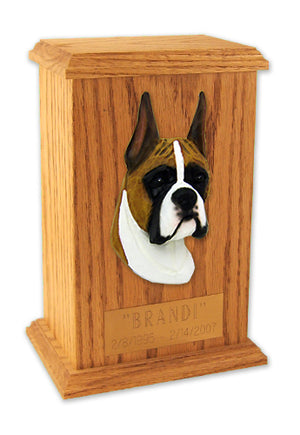 Boxer Dog Light Oak Memorial Cremation Urn Fawn