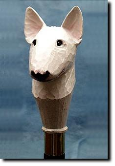 Bull Terrier Dog Hand painted Walking Cane Stick