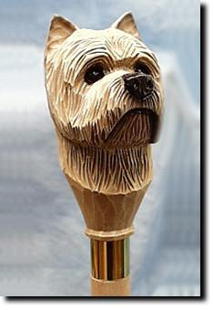 Cairn Terrier Dog Hand painted Walking Cane Stick