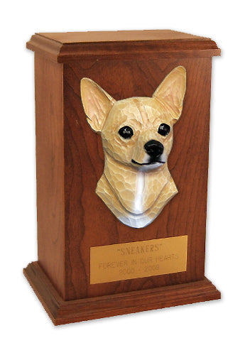 Chihuahua Dog Light Oak Memorial Cremation Urn Black