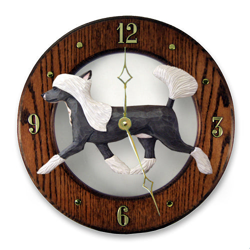 Chinese crested Dog Light Oak Hand Crafted Wall Clock
