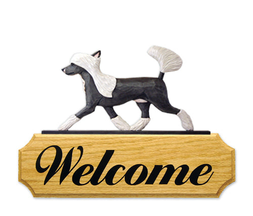 Chinese Crested Dog in Gait Yard Welcome Sign