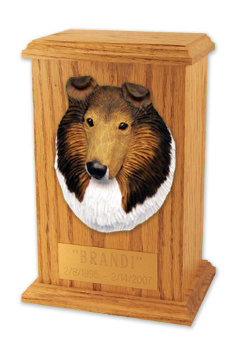 Collie Dog Light Oak Memorial Cremation Urn Sable