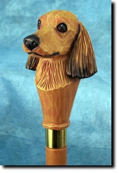 Red Dachshund Long Haired Head Dog Cane Stick