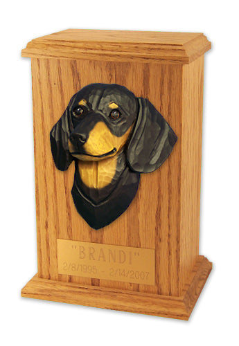 Dachshund Smooth Dog Light Oak Memorial Cremation Urn Black and Tan