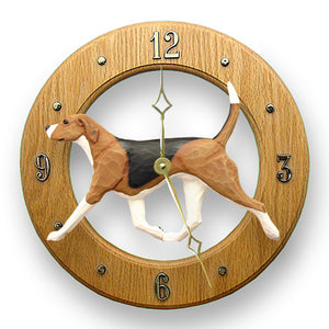 English foxhound Dog Light Oak Hand Crafted Wall Clock Tri Color