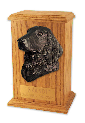 Flat coated Retriever Dog Light Oak Memorial Cremation Urn Black