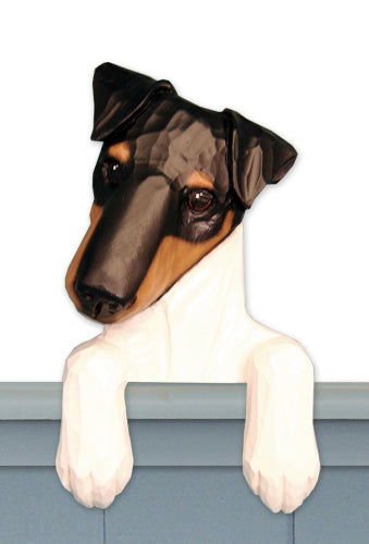 Fox Terrier Smooth Dog Door Topper Brown