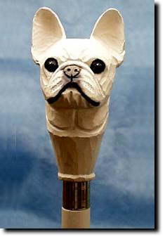 French Bull dog Hand painted Walking Cane Stick