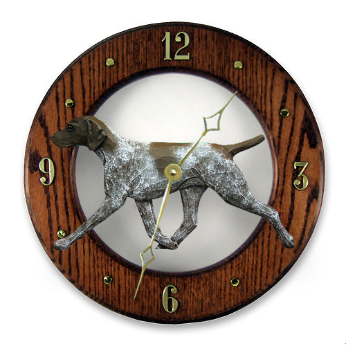 German Shorthaired Pointer Dog Light Oak Hand Crafted Wall Clock