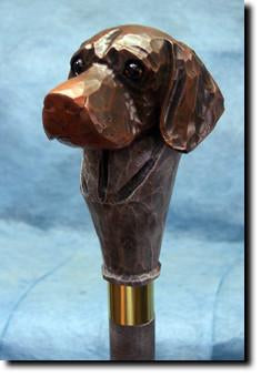German Shorthaired Pointer Dog Hand painted Walking Cane Stick