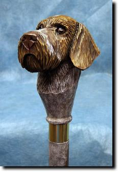 German Wirehaired Pointer Dog Hand painted Walking Cane Stick
