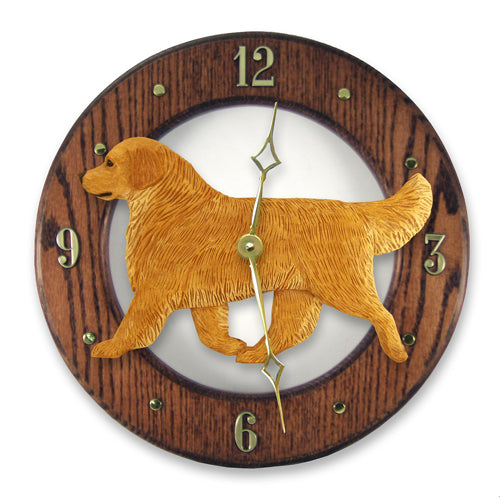 Golden Retriever Show Dog Light Oak Hand Crafted Wall Clock Cream