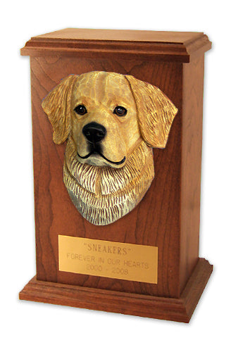 Golden retriever show Dog Light Oak Memorial Cremation Urn Cream