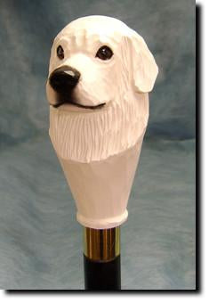 Great Pyrenees Dog Head Cast Resin Walking Cane Stick