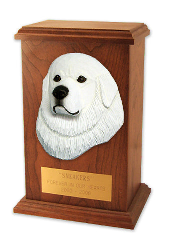 Great pyrenees Dog Light Oak Memorial Cremation Urn