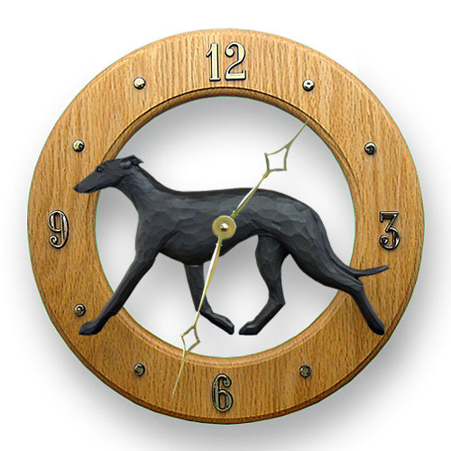 Greyhound Dog Light Oak Hand Crafted Wall Clock Black