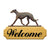 Greyhound Dog in Gait Yard Welcome Sign Black