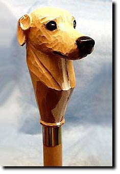 Greyhound Dog Head Cast Resin Hiking Staff