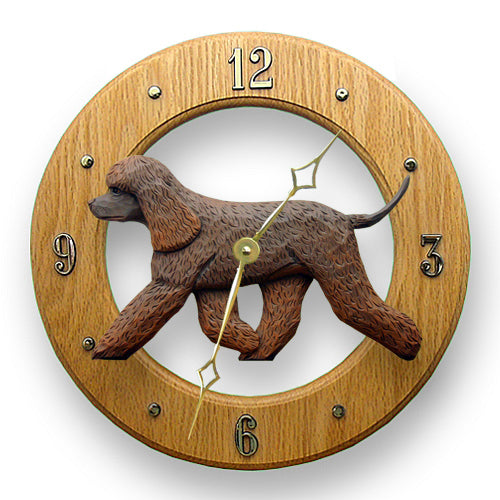 Irish water spaniel Dog Light Oak Hand Crafted Wall Clock