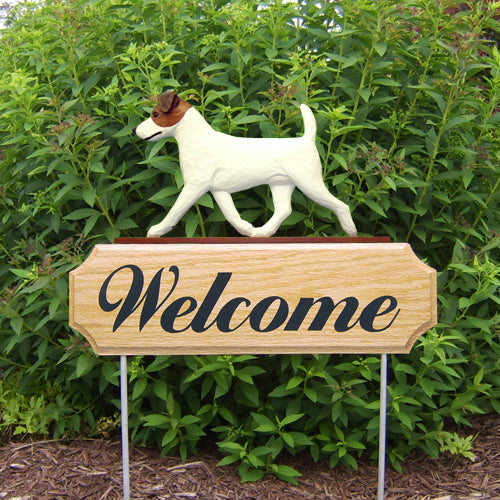 Jack Russell Terrier Dog in Gait Yard Welcome Stake Black and White