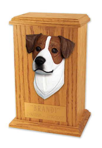 Jack russell terrier Dog Light Oak Memorial Cremation Urn Brown and White