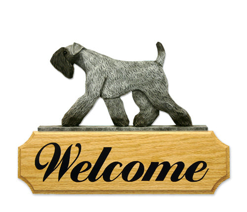 Kerry Blue Terrier Dog in Gait Yard Welcome Sign