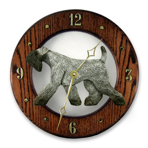 Kerry Blue Terrier Dog Light Oak Hand Crafted Wall Clock