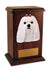 Maltese Dog Light Oak Memorial Cremation Urn