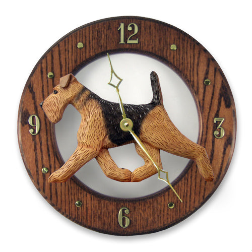 Airedale Dog Light Oak Hand Crafted Wall Clock