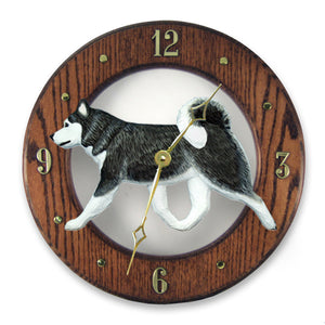 Alaskan malamute Dog Dark Oak Hand Crafted Wall Clock Black and White