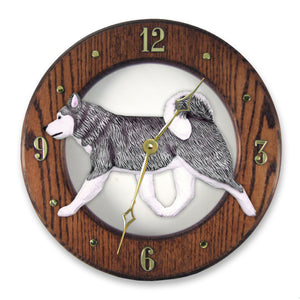 Alaskan malamute Dog Dark Oak Hand Crafted Wall Clock Grey and White