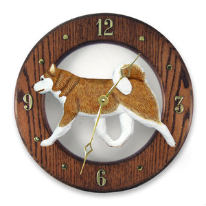 Alaskan malamute Dog Dark Oak Hand Crafted Wall Clock Red and White