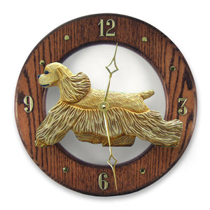 American cocker spaniel Dog Dark Oak Hand Crafted Wall Clock Brown Parti