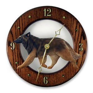 Belgian tervuren Dog Dark Oak Hand Crafted Wall Clock
