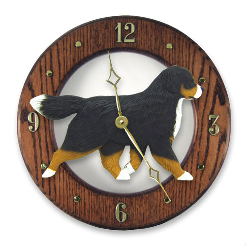 Bernese mountain Dog Light Oak Hand Crafted Wall Clock