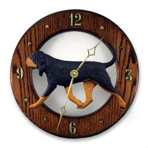 Bloodhound Dog Dark Oak Hand Crafted Wall Clock Black and Tan
