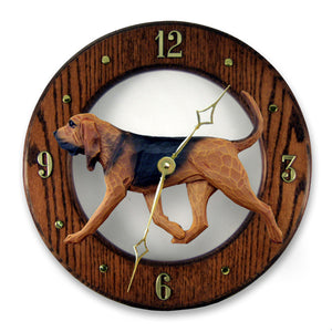 Bloodhound Dog Dark Oak Hand Crafted Wall Clock Red with Black Saddle