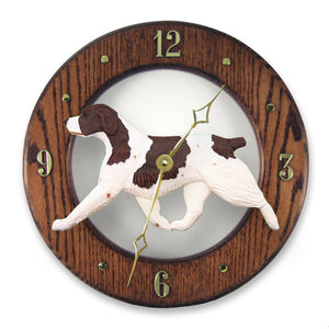 Brittany Dog Dark Oak Hand Crafted Wall Clock Liver