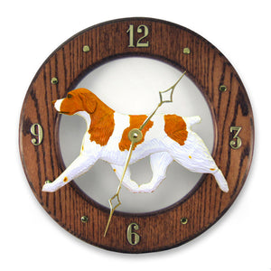 Brittany Dog Dark Oak Hand Crafted Wall Clock Orange